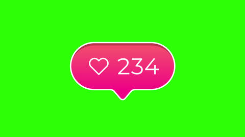 Round Pink Gradient Likes Notification Counter on Green Screen Animation