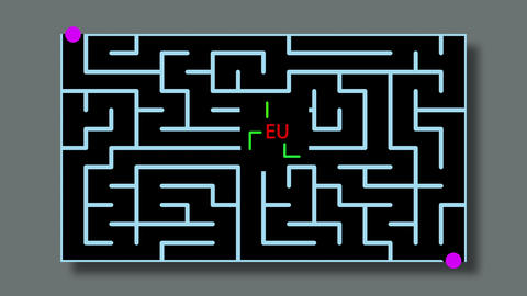 animation of Maze With red text and green lines and possible Solution -EU Animation