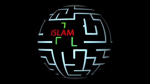 animation of Maze With red text and green lines and possible Solution - ISLAM Animation