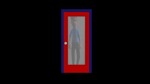 Cartoon Man Opening a Door GIF