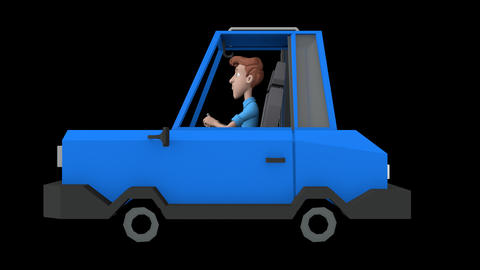 Cartoon Man Driving Animation