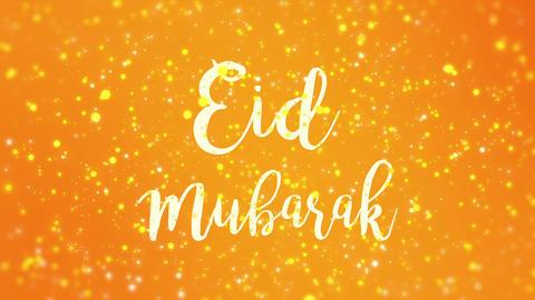 Sparkly orange yellow Eid Mubarak greeting card video Animation