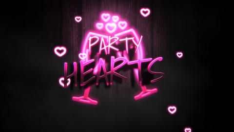 Animated closeup Party Hearts text and motion romantic heart on Valentine day shiny background Animation