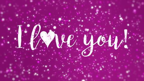 Animated magenta pink I love you Valentine card Animation