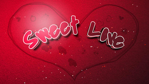 Animated closeup Sweet Love text and motion romantic heart on Valentine day shiny background Animation
