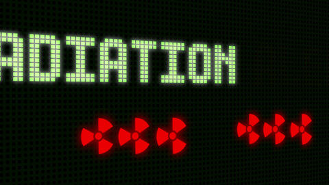 Radition Alert Signal on the Screen with skull - animation Animation