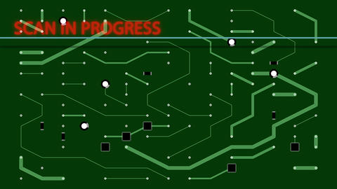 Process of scan circuit board in progress - animation Animation