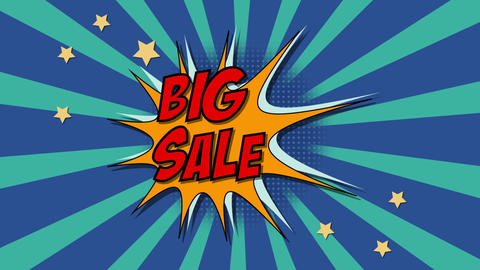 Words Big sale In Comics Style. Animation with chroma key version included Animation
