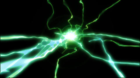 Electricity green lightning loop effect animation Videos animados