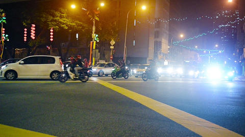 Night Time Traffic at a Typical Urban Intersection in Central Kuala Lumpur. Mala Footage