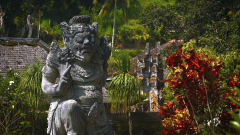 Ancient Stone Sculpture inside Tirta Empul Temple in Bali. Indonesia Footage