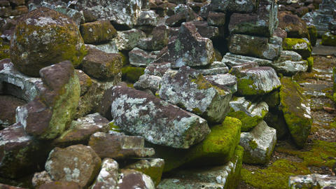 Panning Shot of Rubble from Ancient Temple Ruin. 4k video Footage