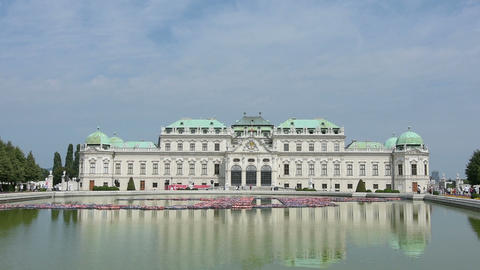 A view of the garden and the Belvedere building in Vienna Footage