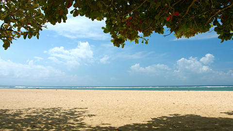 Beautiful and Nearly Deserted Tourist Beach in Bali. Indonesia Footage