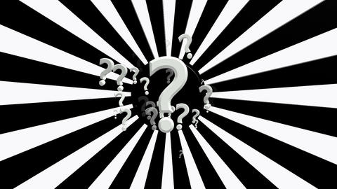 Rotating sunburst with question marks in white and black colors Animation