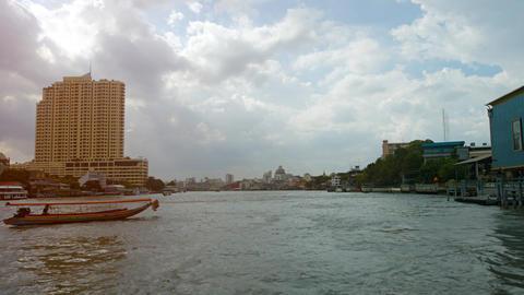 Cruising along the Chao Phraya River in Bangkok. Thailand Footage
