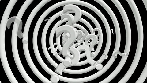 Question marks with rotating spiral in white Animation