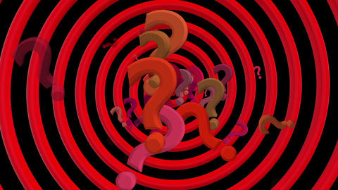 Question marks with rotating spiral in red color Animation