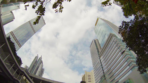 Highrise buildings in downtown Hong Kong. stretching upward Footage