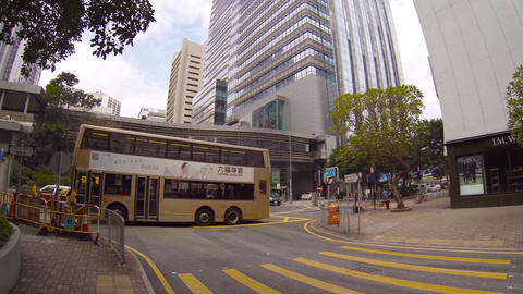 Busy urban intersection in Hong Kong. China Footage