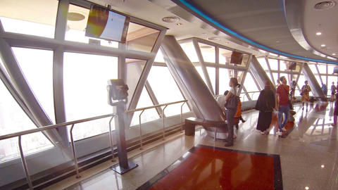 Tourists enjoying dramatic view from observation deck of Kuala Lumpur Tower Footage