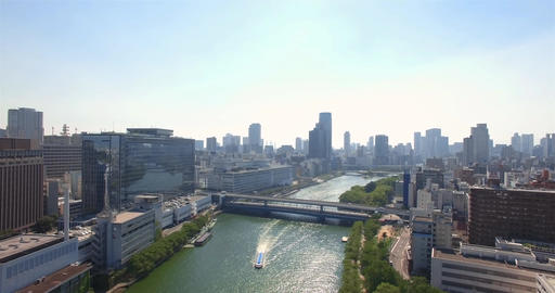 Osaka city Backwards reveal shot Aerial view establishing shot Footage