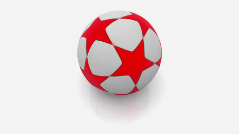 Soccer ball in white and red on white Animation