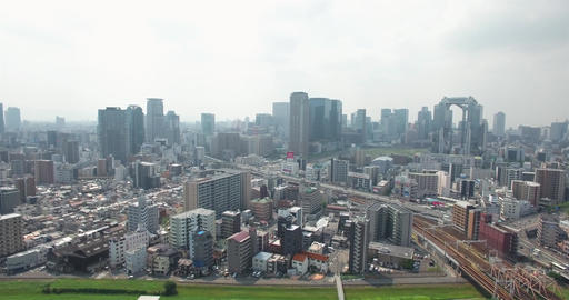 Aerial View City Skyline Osaka 5th largest metro in the world Japan Footage