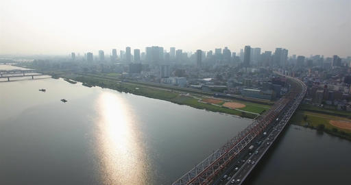 Aerial view Of traffic flowing into Osaka City Japan second largest city Footage