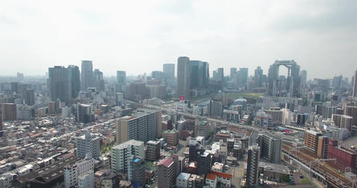 Osaka Metro City Slyline aerial moving shot Japan buildings Footage
