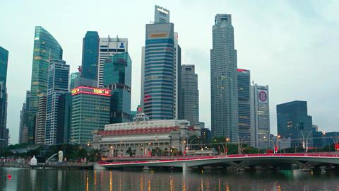 Buildings of Singapore's urban skyline. overshadowing Fullerton Hotel Footage