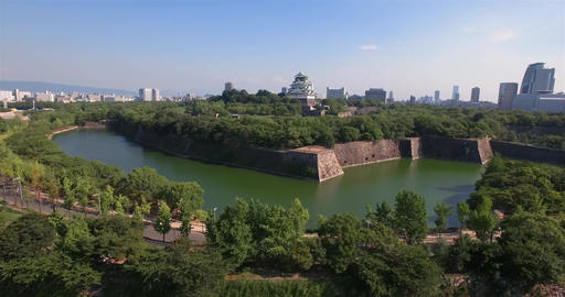 Wide angle moving aerial shot Osaka Castle park Attraction Footage