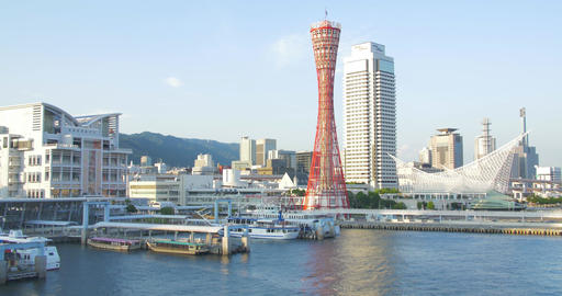 Beautiful Kobe port harbour in the afternoon Footage