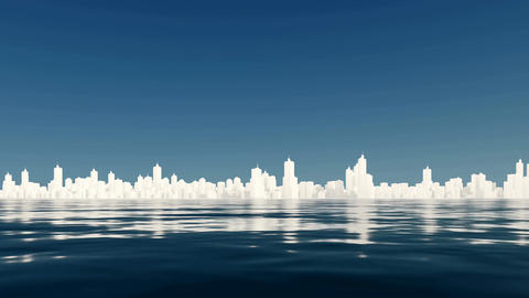 Abstract white city skyline reflected in water Footage