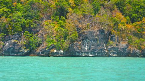 Cruising Past Undercut Limestone Cliffs of a Tropical Island Footage