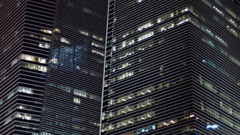 Beautiful Lines of Stylish. Highrise Buildings at Night Footage