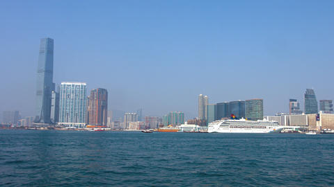 Contemporary Architecture of the Hong Kong Cityscape from the Ocean Footage