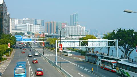 Typical traffic on a major highway in Metropolitan Hong Kong Footage