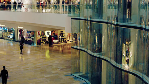 Attractive interior of a popular shopping mall in Hong Kong. with elevators Footage
