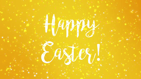 Sparkly yellow Happy Easter greeting card video Animation
