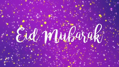 Sparkly purple Eid Mubarak greeting card video Animation