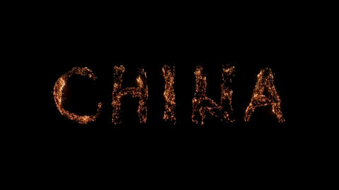 Word CHINA burning Steel wool smoldering on transparent background Beautiful combustion Exciting Live Action