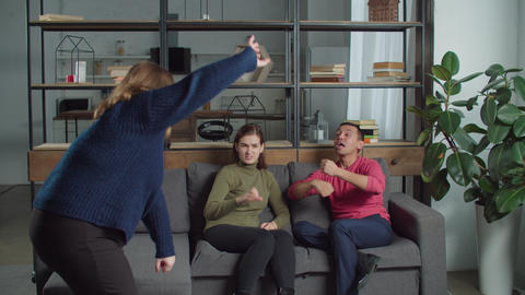 Deaf-mute people playing guessing game at home Live Action