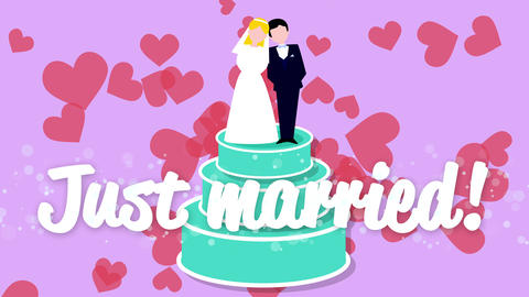 Bride and groom just married. Wedding cake animation, Stock Animation