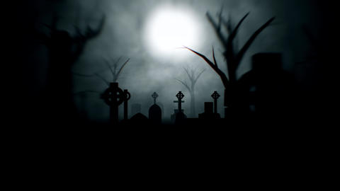 Spooky Graveyard At Night Seamless Loop Animation