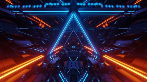 technical triangle space ship hangar tunnel corridor with glass windows 3d Animation