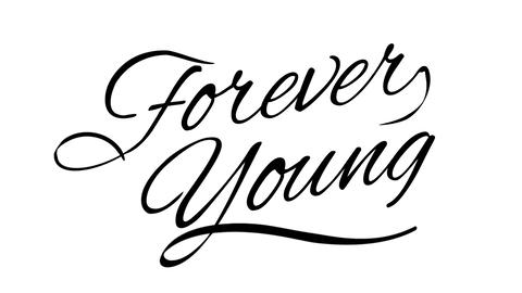 Forever Young. Calligraphic title with Alpha Channel Animation