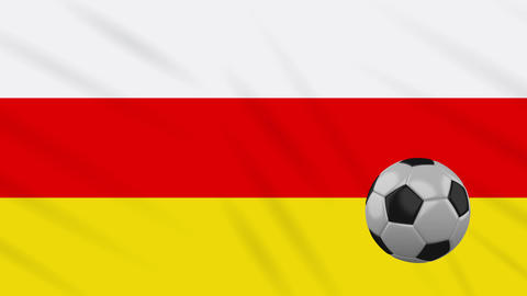 South Ossetia flag and soccer ball rotates on background of waving cloth, loop Animation