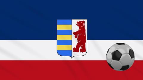 Carpathian Ruthenia flag and soccer ball rotates on background of waving cloth Animation