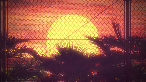 80s Fence Sunset Futurism Background (Loop) Animation